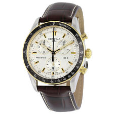 Certina DS - 2 Quartz Chronograph Silver Dial Brown Leather Mens Watch