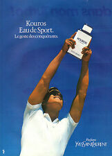 Publicité Advertising 1985  Parfum KOUROS de YVES SAINT LAURENT eau de sport