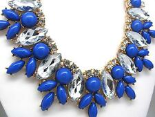 Blue Crystal Enamel Flower Bib Chunky Statement Necklace NEW