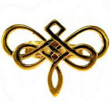 LOOK New Goddess Dragonfly Celtic ring Infinity knot work Gold plated Sterling s