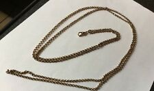 Antique Victorian Edwardian Red Rose Rolled Gold Faceted Belcher Muff Chain