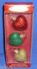 Hallmark Li'l Blown Glass Collection Set of 3 Glittery Hearts 2000 VIP Gift NIB
