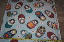 Russian Dolls Matryoshka Dolls Allover Light Blue FLEECE Fabric BTY
