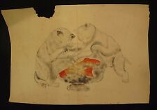 "Large 19th Century Theorem Painting Kittens Cat Goldfish Coi 11"" x 16.5"""