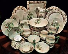 Fabulous MINT Cond. Hand Painted Pottery Dinnerware Set with Accessories 21 Pcs