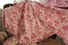 1860 Antique Pink fabric bird toile red pattern butterfly old French toile