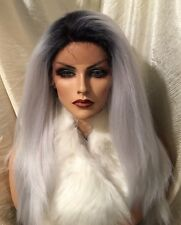Stunning Human Hair Blend, Soft Swiss Lace Front,Long  Rooted Platinum Gray Wig!