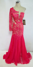 NWT MacDuggal Fuchsia / Nude $698 Pageant Prom Gown 6