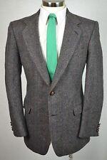 (42L) Arnie II Men's Brown Herringbone Tweed Wool Blazer Sport Coat Jacket