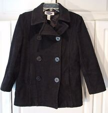 Womens Old Navy Double Breasted Black Wool Blend Pea Coat Extra Small XS Peacoat