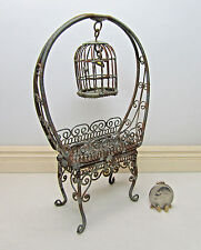 Dollhouse Miniature Rustic Planter with Small Bird Cage