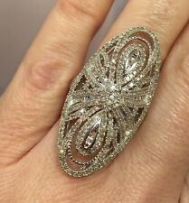 Huge Sterling Silver 2 - 3 Ct Diamond Pave Cluster Cocktail Wedding 925 Ring 7
