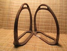 Pair of VIntage English or Military Iron Saddle Stirrups Rare Size MAKE OFFER