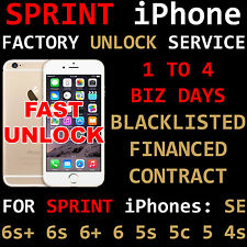 SPRINT PREMIUM FACTORY UNLOCK SERVICE IPHONE 6s+ 6s SE BLACKLIST UNPAID ALL 100%