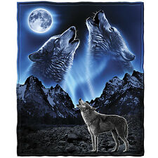 Wolves Howling Moon Fleece Throw Blanket