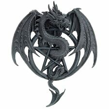 Winged Dragon Pentagram Wall Plaque Protector Guardian Fierce Grey Stone