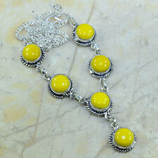 "Yellow Agate Jasper 100% Pure 925 Sterling Silver Necklace 19.5"" #B12928"