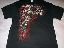 Skulls with Red Smoke Halloween Black Delta T-shirt Men's 3XL NWOT