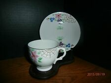 TAYLOR & KENT TEA CUP w/ SAUCER 6889 FLOWERS SPIDER WED EX COND