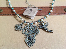"""Love Heals SPECIAL PRICE (A1) 24"""" Pearl/Turquoise Strand w/3 Charms NEW ret $197"""