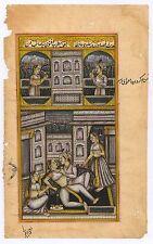Indian Handmade Painting Paper Water Color Mughal Moghul Harem Art Erotic Scene
