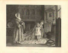 Child, Dress, The Toilet Of The Young Princess, Vintage, 1878 Antique Art Print