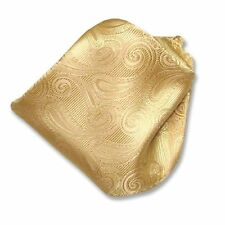 Gold Paisley Design Handkerchief Pocket Square Hanky Men's Handkerchiefs