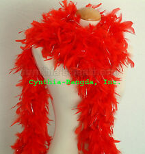 "65g 72"" long ReD w/ SiLver Tinsel Chandelle feather boa for sparkle in the party"