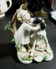 G Cappe 1959 Italy Works of Art Girl and Dog Figurine NICE!!!