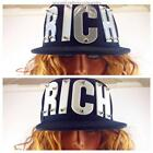 RICH Statement Acrylic Letter Snapback Cap - Black with White or Silver