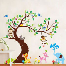 Monkey Owl Birds Tree Vinyl Home Decal Decor Removable Wall Stickers Kids Room