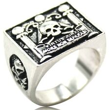 Size 7-15 Antique Silver Masonic Mason Ring Virtus Junxit Skull Pillars Death