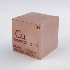 1 inch 25.4mm Copper Metal Cube 146g 99.9% Marked Periodic Table of Elements
