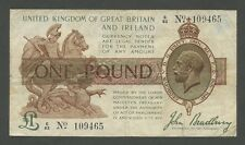 ENGLAND - KGV £1  Bradbury 3rd issue  1917-19  ( Treasury Banknotes )