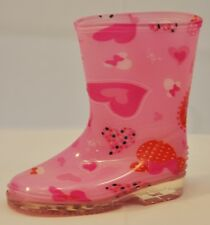 Toddler's Rain Boots.Pretty Colors/Designs,Fuchsia with Pink Hearts&Bows,Size 5