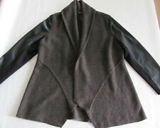 Eileen Fisher Wool/Leather Shawl Collar Sweater Coat Peat -Size PM - NWT $598