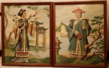 2 Large VINTAGE Paint by Number Asian Art Temple Gardens Pagoda Geisha Framed