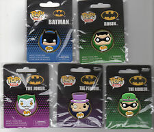 "Funko BATMAN  DC POP HEROES 1.5"" PIN SET Batman Robin Joker Penguin Riddler"