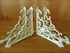 4 WHITE ANTIQUE-STYLE CAST IRON VICTORIAN SHELF BRACKETS braces wall rustic