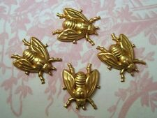 Small Raw Brass Fly Stampings (4) - FF716 Jewelry Finding