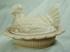 "5"" Hen On Nest Chicken Creamy Chocolate Slag Glass Split Tail Mosser Candy Dish"