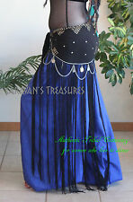 Satin Harem Pants Full and Long -  Blue Gypsy Tribal Fusion Belly Dance