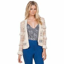2016 NWT WOMENS VOLCOM COCOKNIT SWEATER $80 S vintage white knit fringe cardigan