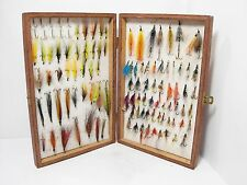 Vintage Wooden Foam Lined Reservoir Fly Box & 100 x Salmon Flies
