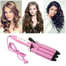 Three Barrel Triple Barrel Ceramic Hair Curling Iron Deep Waver Curler Tool FJUS