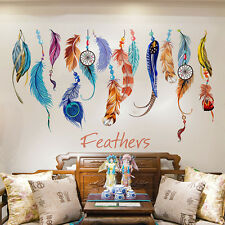 LUCKY FEATHER REMOVABLE WALL ART STICKERS NEW VINYL DECAL ROOM HOME DIY DECOR SK