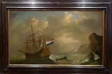 Fine Large 17th Century Dutch Old Master Man-O-War Navy Marine Oil Painitng