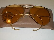 62mm VINTAGE B&L RAY BAN CHANGEABLES AMBERMATIC OUTDOORSMAN AVIATOR SUNGLASSES