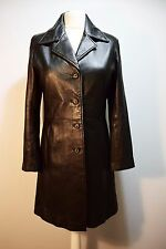 FITTED LEATHER LADIES COAT TRENCHCOAT BLACK LEDERMANTEL SEXY SPY MISTRESS 12 14