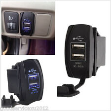 12V-24V 3.1A Autos Boat Motorcycle Dual USB Power Charger Socket With Blue LED